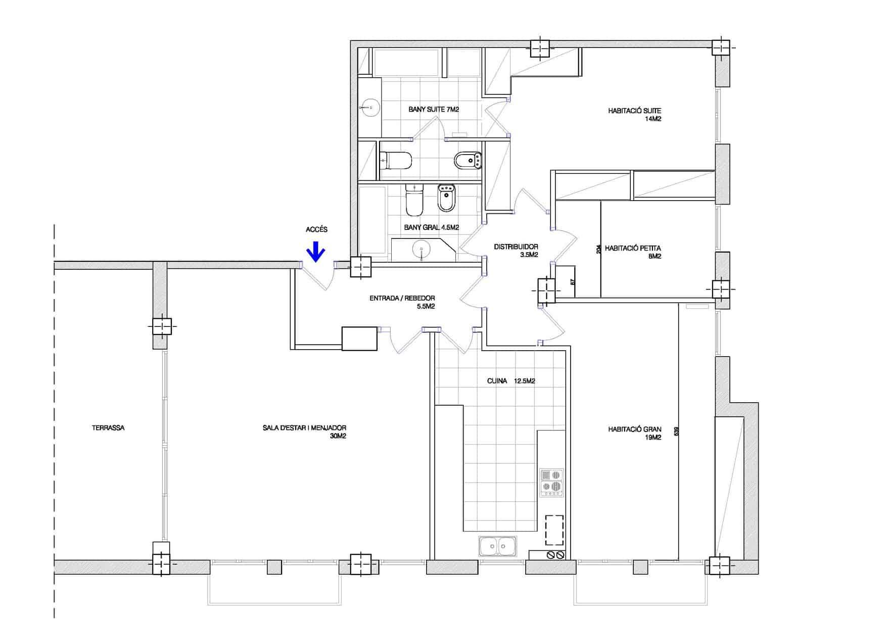 Plano del piso antes de la reforma